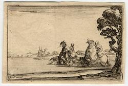 Caprice: Deux cavaliers, tenant chacun une femme en croupe