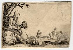 Caprice: Une pauvre femme assise au pied d'un arbre entre ses deux enfants