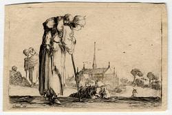 Caprice: Une pauvre femme portant son enfant sur son dos