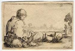 Caprice: Un pauvre vieillard assis par terre