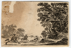 Agréable diversité de figures: Vue d'une forêt avec une chasse au cerf