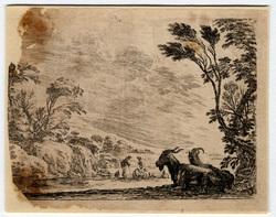 Agréable diversité de figures: Les deux chèvres couchées, tournées vers l…