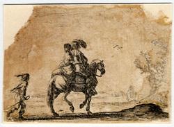 Agréable diversité de figures: Un cavalier avec une dame en croupe derriè…