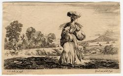 Diverse figure e paesi: La paysanne qui voyage à pied, un panier au bras …