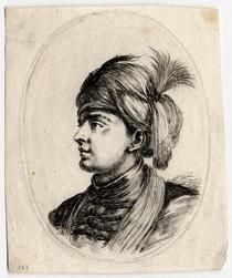 Plusieurs têtes coifféees à la persienne: Jeune turc sans barbe, tourné v…