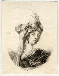 Plusieurs têtes coifféees à la persienne: Femme vue de dos, la tête tourn…