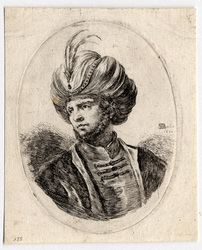 Plusieurs têtes coifféees à la persienne: Jeune turc ayant un peu de barb…