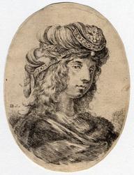 Plusieurs têtes coifféees à la persienne: Sultane tournée de trois quarts…