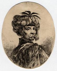 Plusieurs têtes coifféees à la persienne: Turc portant moustache et barbe…