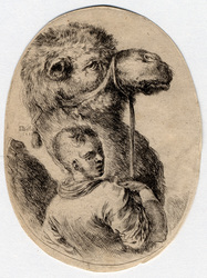 Plusieurs têtes coifféees à la persienne: Esclave tenant un chameau par l…