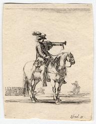 Divers exercices de cavalerie: Trompette à cheval, jouant de son instrume…