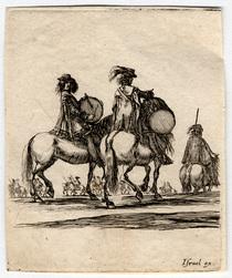 Divers exercices de cavalerie: Deux tambours de mousquetaires à cheval