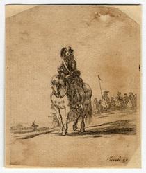 Divers exercices de cavalerie: Un cavalier vu de face ; dans le lointain,…