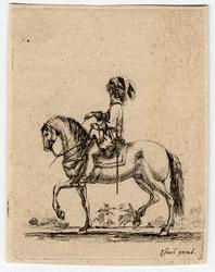 Divers exercices de cavalerie: Cavalier allant au pas vers la gauche