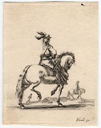 Divers exercices de cavalerie: Cavalier allant au pas vers la droite