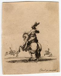 Divers exercices de cavalerie: Cavalier vu par derrière et faisant cabrio…