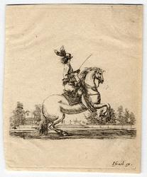 Divers exercices de cavalerie: Cavalier tourné vers la droite et faisant …
