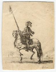 Divers exercices de cavalerie: Cuirassier sur son cheval, allant au pas v…