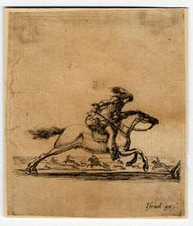 Divers exercices de cavalerie: Cavalier l'épée à la main, courant au gran…
