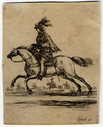 Divers exercices de cavalerie: Mousquetaire à cheval courant vers la gauc…