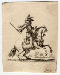 Divers exercices de cavalerie: Commandant à cheval donnant des ordres et …