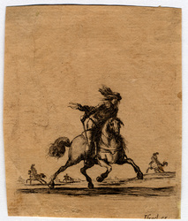 Divers exercices de cavalerie: Cavalier qui court vers le devant de la dr…
