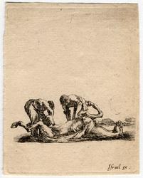 Divers exercices de cavalerie: Deux équarisseurs écorchent un cheval