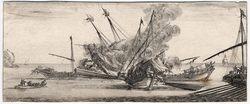 Divers dessins tant pour la paix que pour la guerre: Combat naval; au mil…