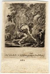 Saint Jean-Baptiste puisant de l'eau à une source