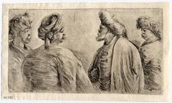 Quatre turcs vus à mi-corps, coiffés de turbans
