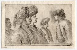 Quatre turcs et un esclave, vus à mi-corps et de profil