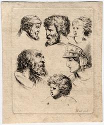 Six têtes, en haut deux têtes de vieillard en regard, et à droite, une têt…