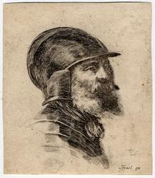 Diverses têtes et figures: Tête de vieux soldat barbu, avec casque, cuira…
