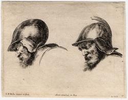 Les principes du desssins: Deux têtes de vieux soldats avec casque et bar…