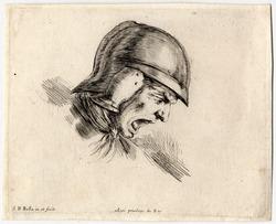 Les principes du desssins: Tête de soldat effrayé, qui crie