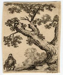 Diverses figures et griffonnements: Paysage, à droite, un gros arbre; à g…
