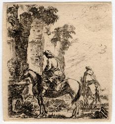 Diverses figures et griffonnements: Paysage, sur le devant, un cavalier f…