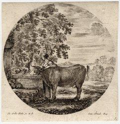 Six sujets d'animaux: Une vache et un jeune pâtre se désaltèrent à un fon…