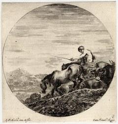 Six sujets d'animaux: Un pâtre, monté sur un cheval, conduit un troupeau …