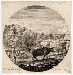 Six sujets d'animaux: Un troupeau de vaches et deux paysannes, traversant…