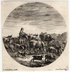 Six sujets d'animaux: Une paysanne assise sur un cheval et tenant dans se…