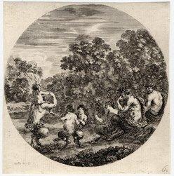Six sujets d'animaux: Deux satyres et une faunesse regardent danser deux …