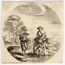 Paysages et ports de mer, dans des ronds: Un paysan à cheval et un autre …