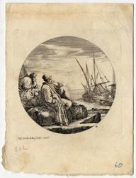 Paysages et ports de mer, dans des ronds: Deux marchands turcs, l'un assi…