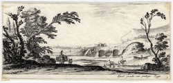 Divers paysages: Deux cavaliers qui passent à gué une rivière