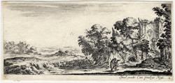 Divers paysages: Deux pèlerins qui regardent des ruines