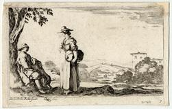 Suite de douze paysages: Un homme assis causant avec une jeune paysanne d…
