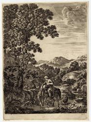 Quatre grands paysages en hauteur: Le berger faisant boire son cheval
