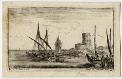 Paysages maritimes: A gauche, une galère dirigée vers le fond; au milieu,…
