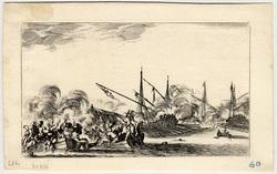 Suite de huit Marines: Combat entre plusieurs barques et galères